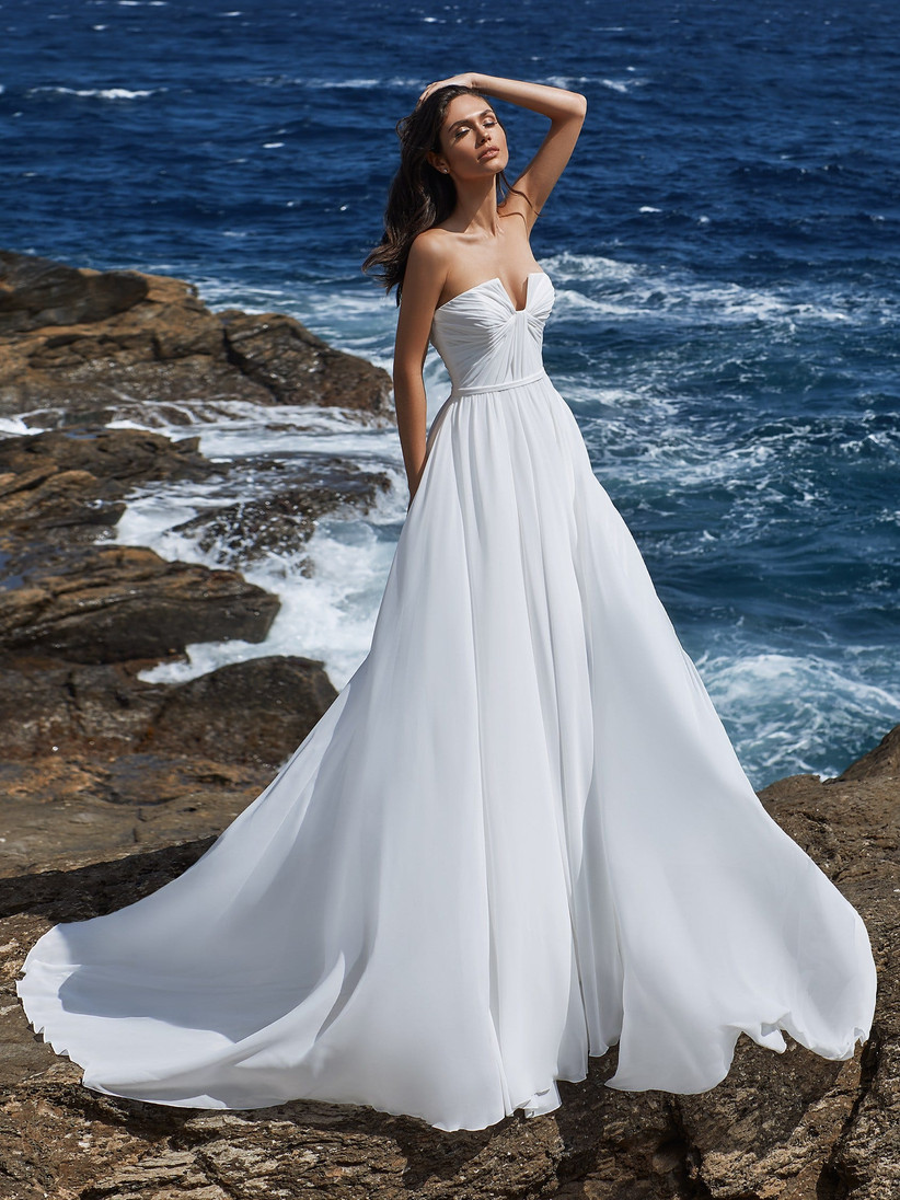 Model in a strapless wedding dress