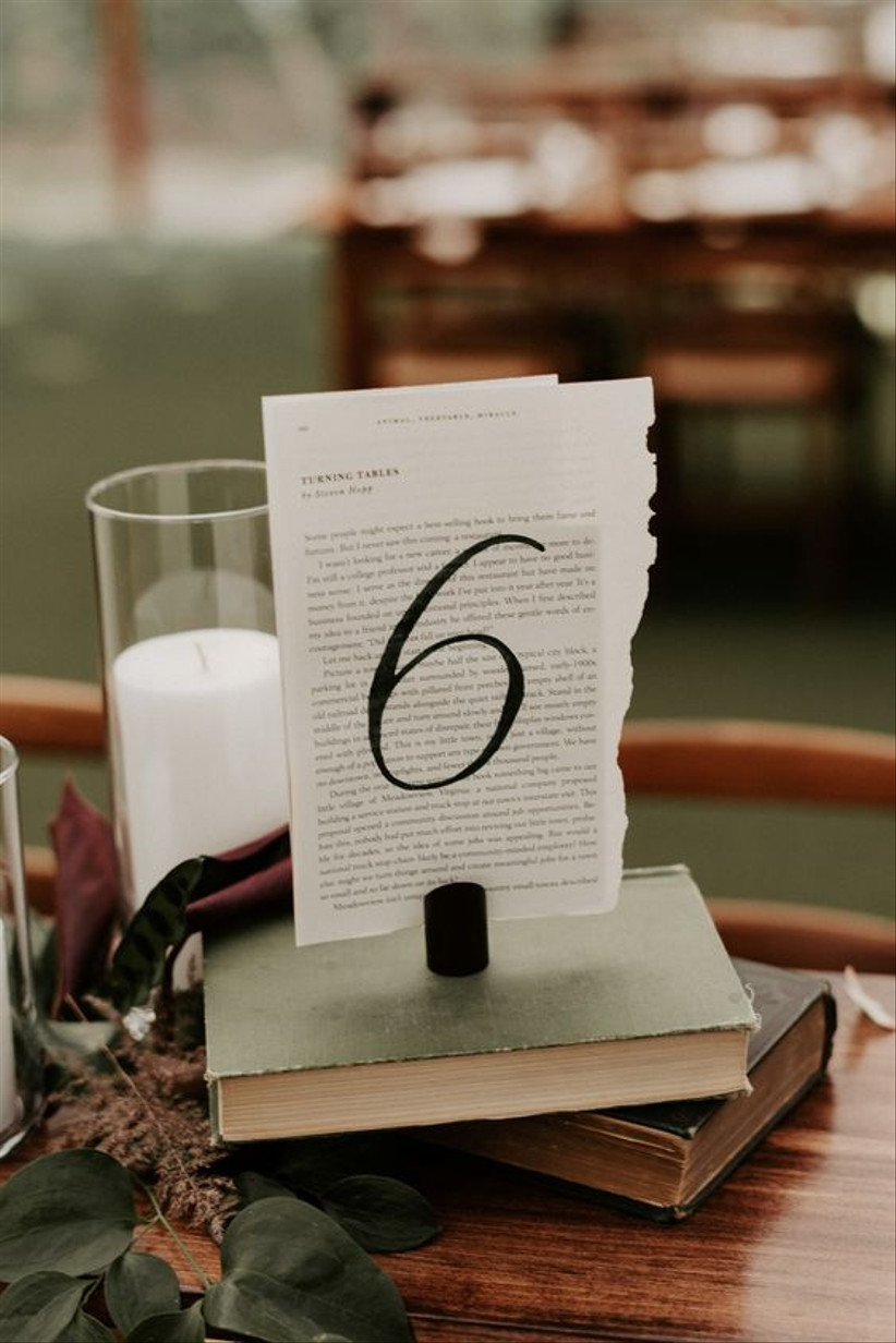 Book page wedding table number