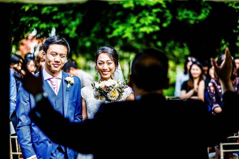 Celebrant and wedding couple