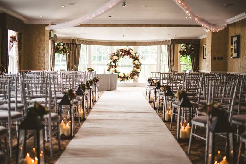 Wedding ceremony area decorated with flowers