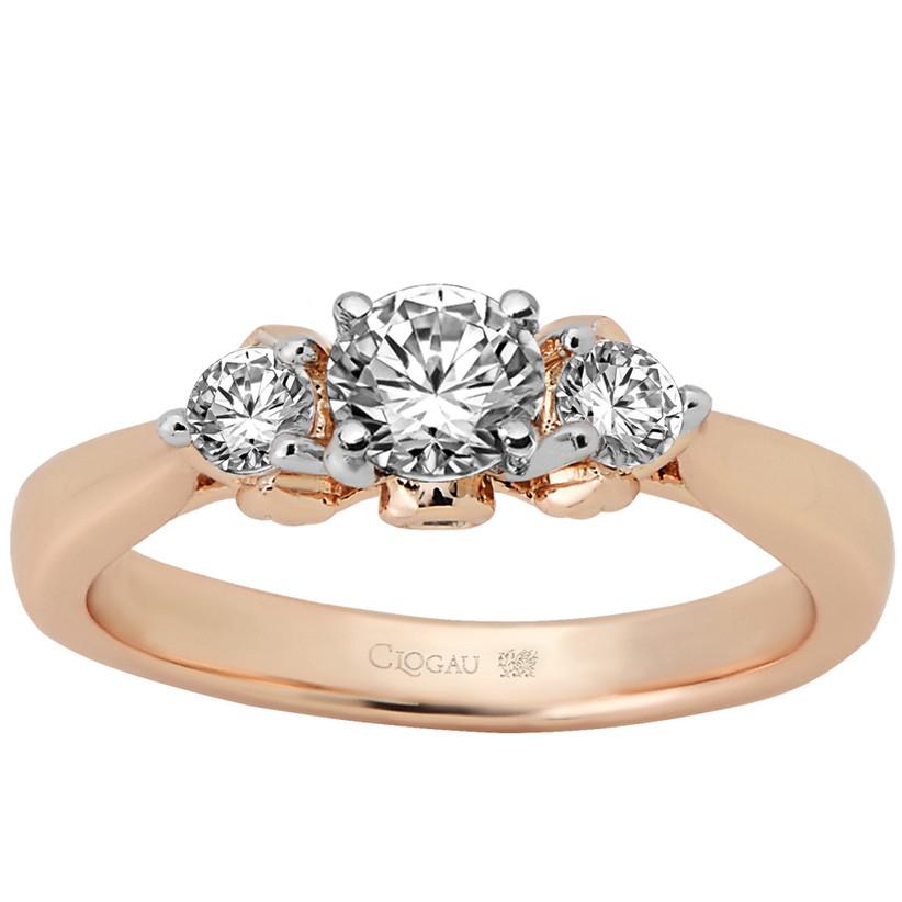 Three diamond rose gold engagement ring