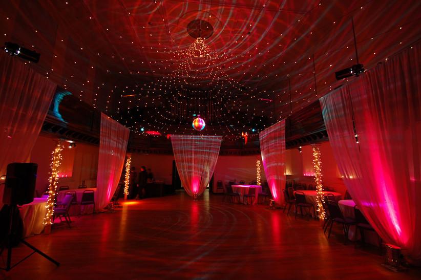 Grand lit hall at a wedding venue