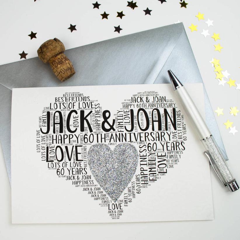 Love heart personalised 60th wedding anniversary card