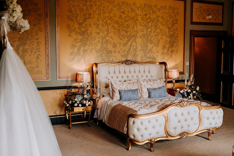 Gold and blue bridal suite at Rise Hall
