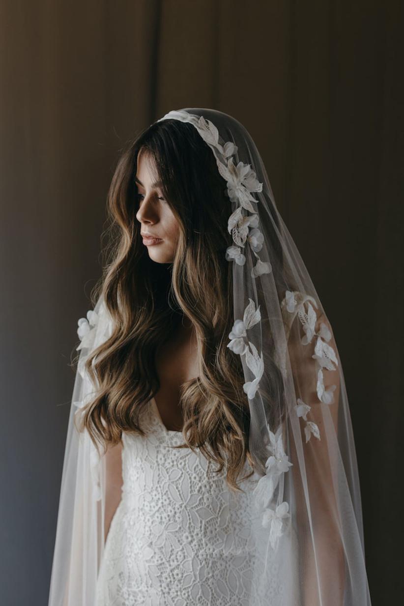 Model wearing a floral veil