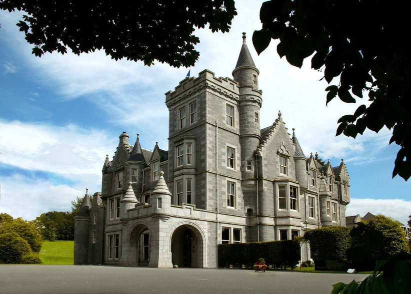Outside view of a castle wedding venue hotel
