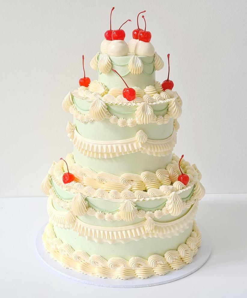 Retro wedding cake with cherries