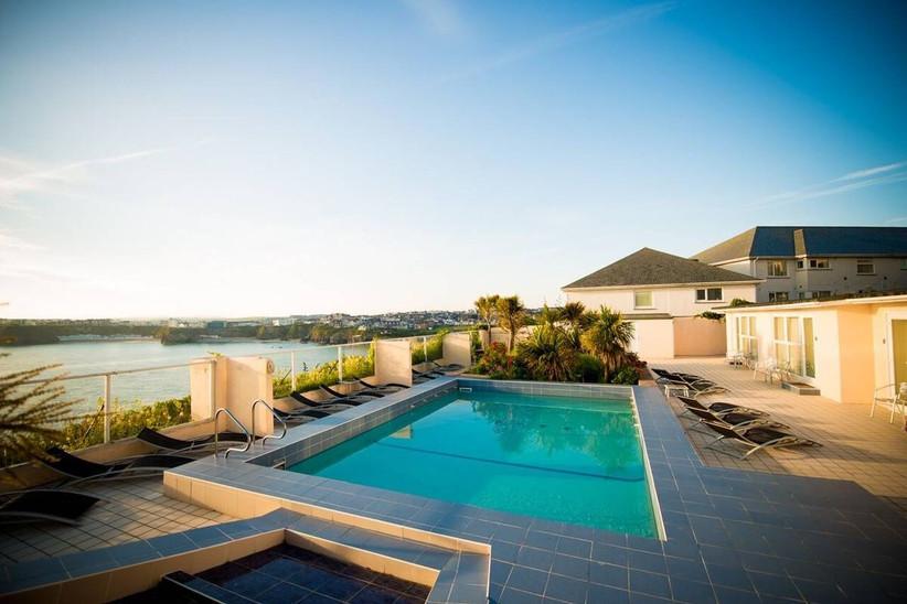 Outdoor swimming pool at a coastal wedding venue