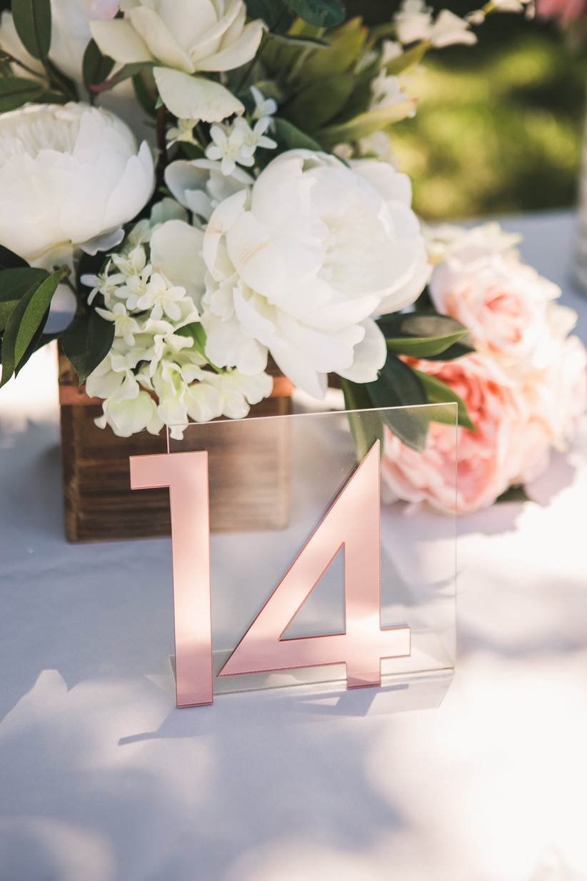 Pink wedding table number
