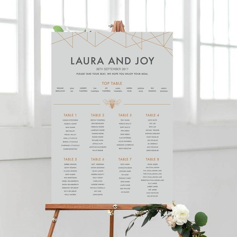 Table plan for a wedding