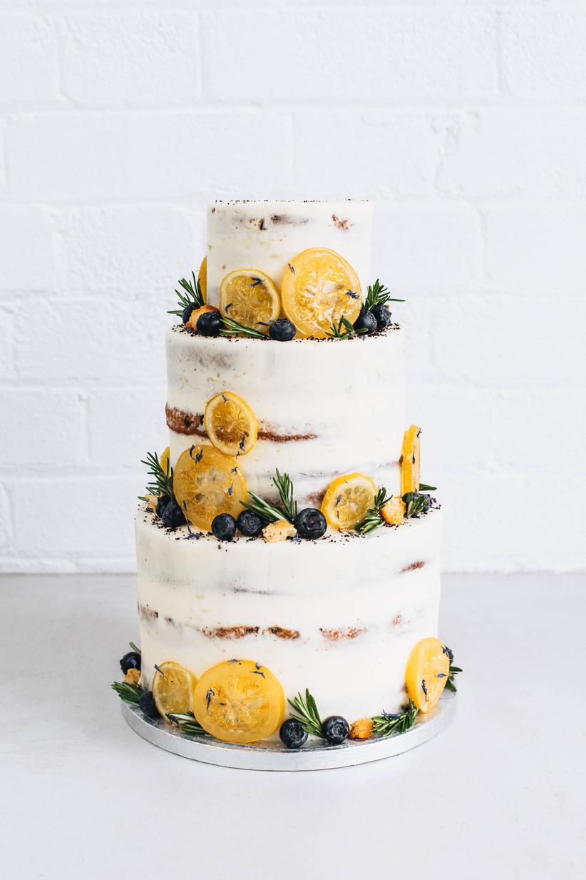 Lemon and blueberry wedding cake