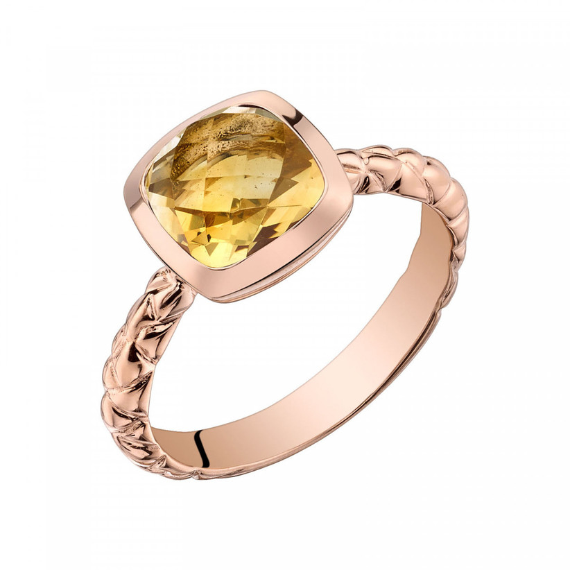 Citrine and rose gold engagement ring