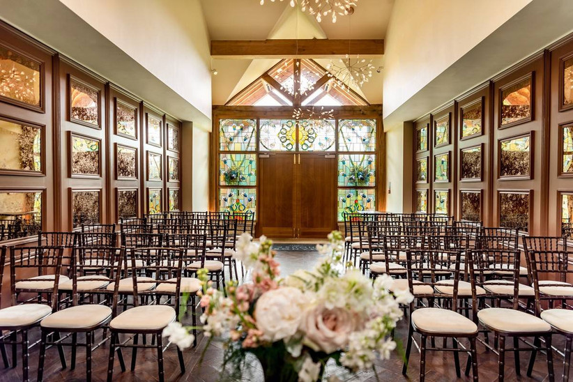 Wedding ceremony room with stain glass windows