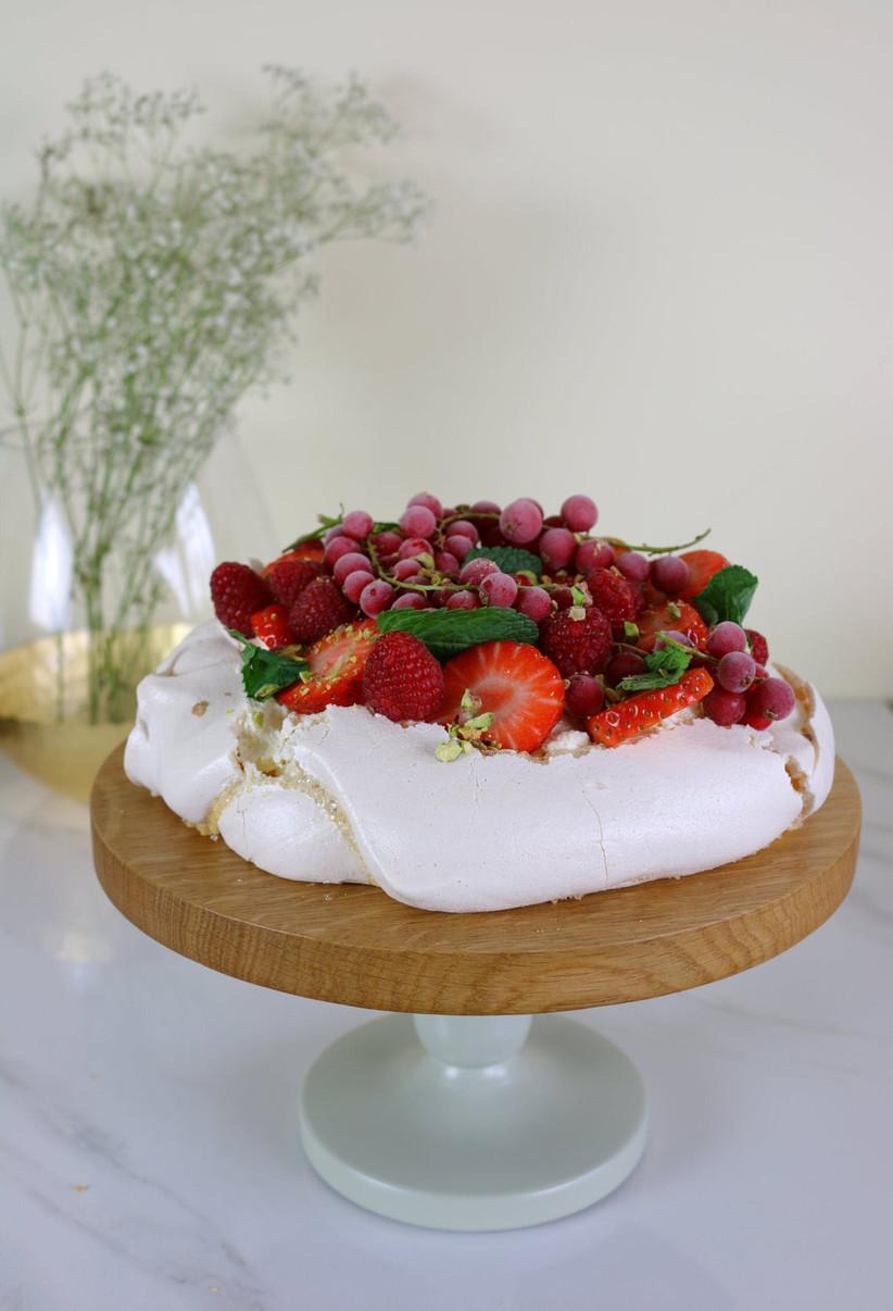 Pavlova on a simple wedding cake stand