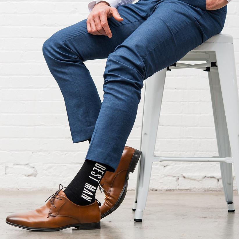 Model wearing best man socks