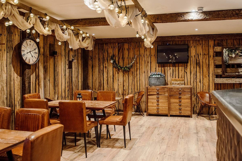 Wood panelled dining room
