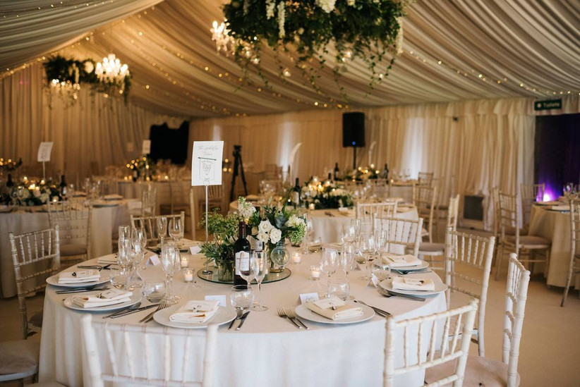 Marquee wedding dining area