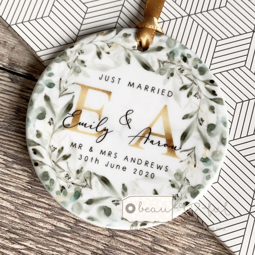Personalised just married ornament
