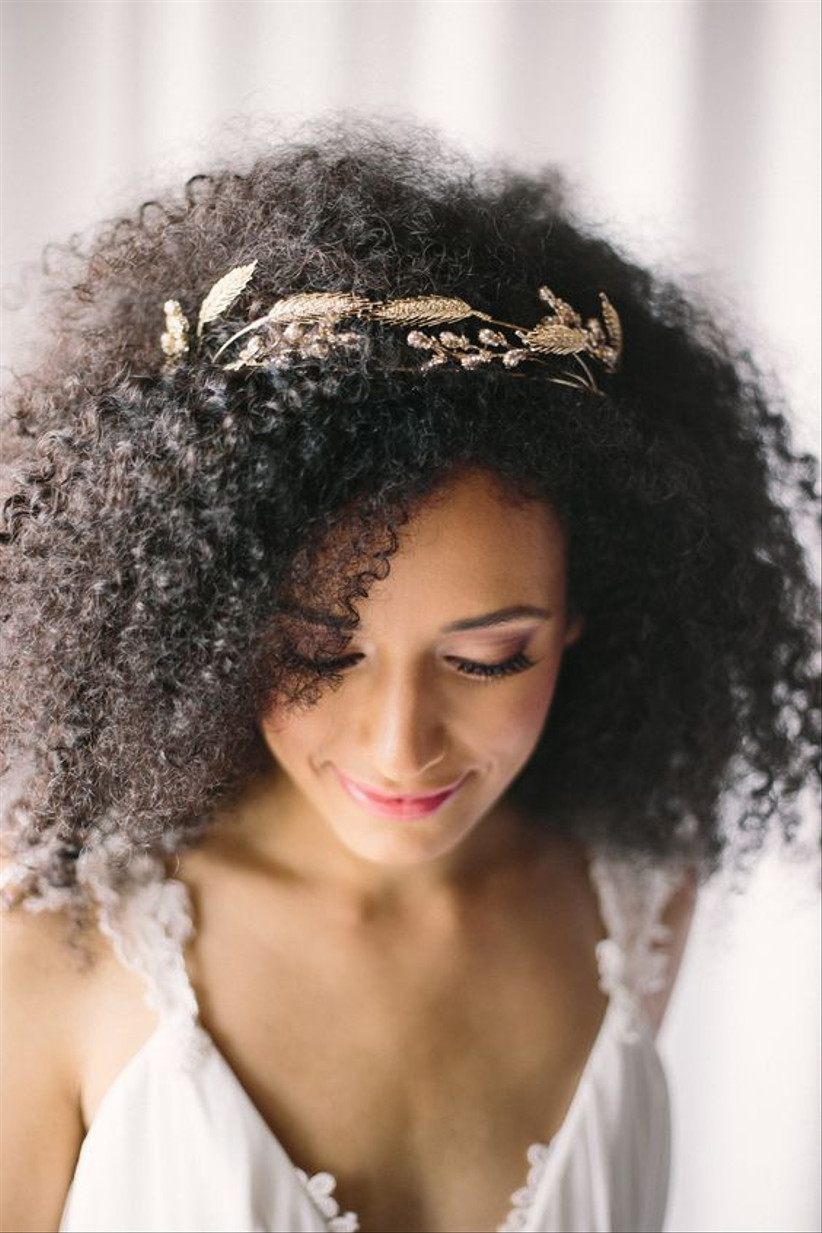Model with a gilded hairband