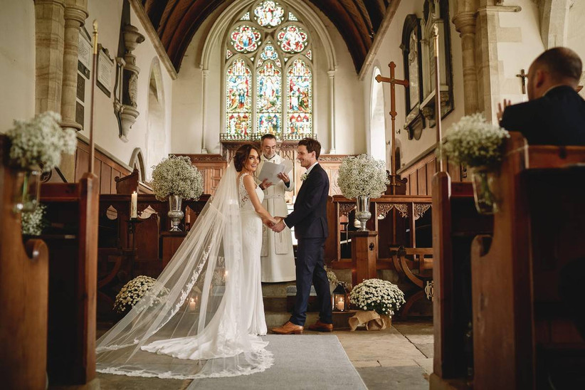 Bride and groom at a Church wedding ceremony