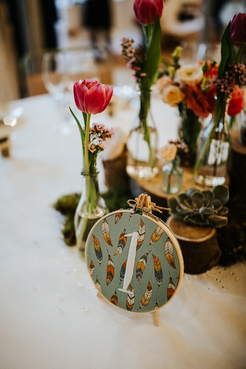 Embroidered wedding table number