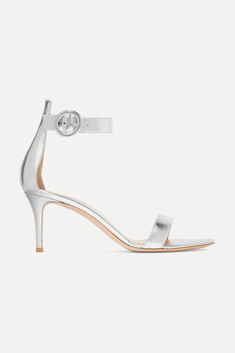Silver metallic wedding sandals