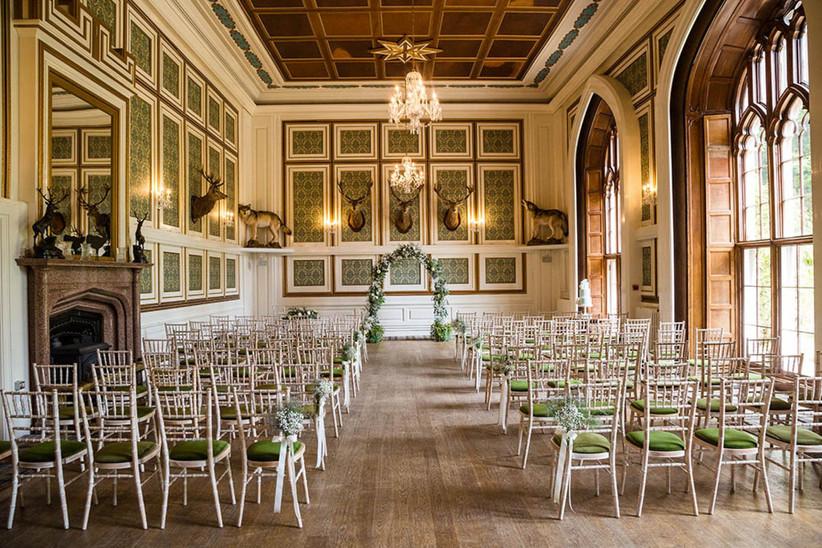 Indoor ceremony at Drumtochty Castle