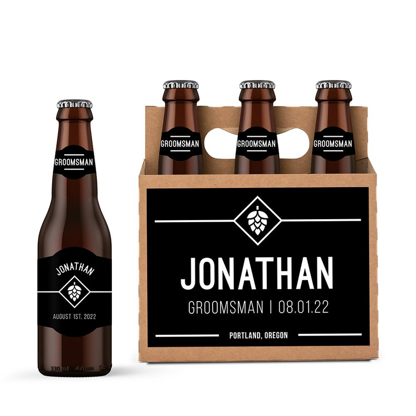 Personalised beer bottles and caddy