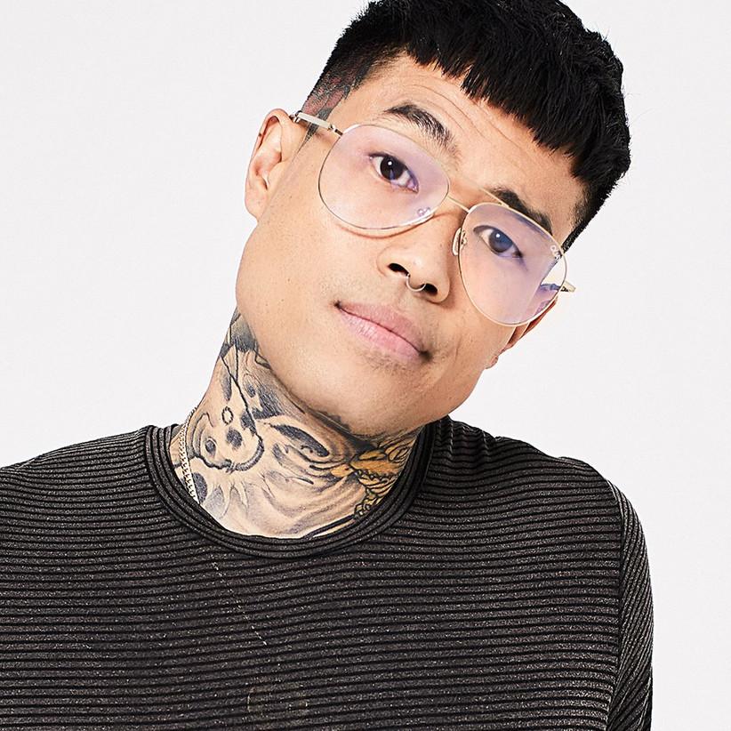 Model wearing blue light glasses