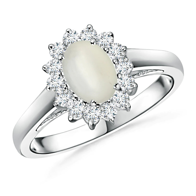 Moonstone engagement ring with a diamond halo