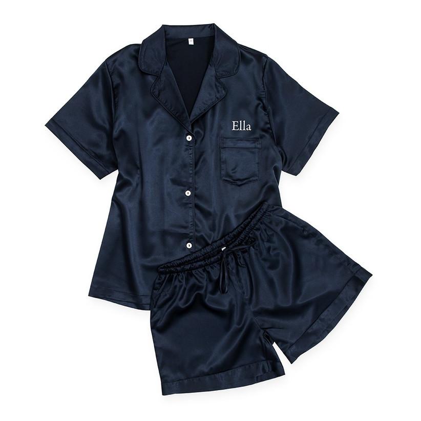 Navy personalised satin pyjamas