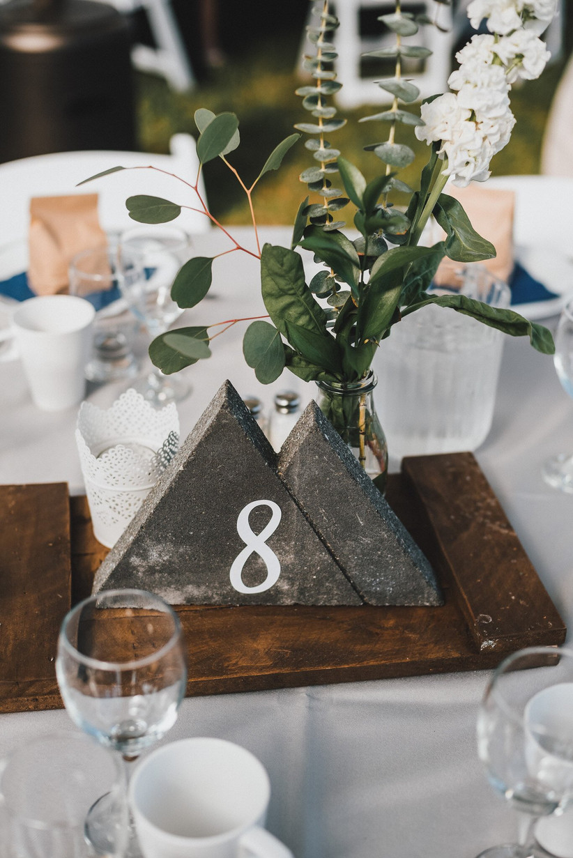 Stone triangle wedding table number