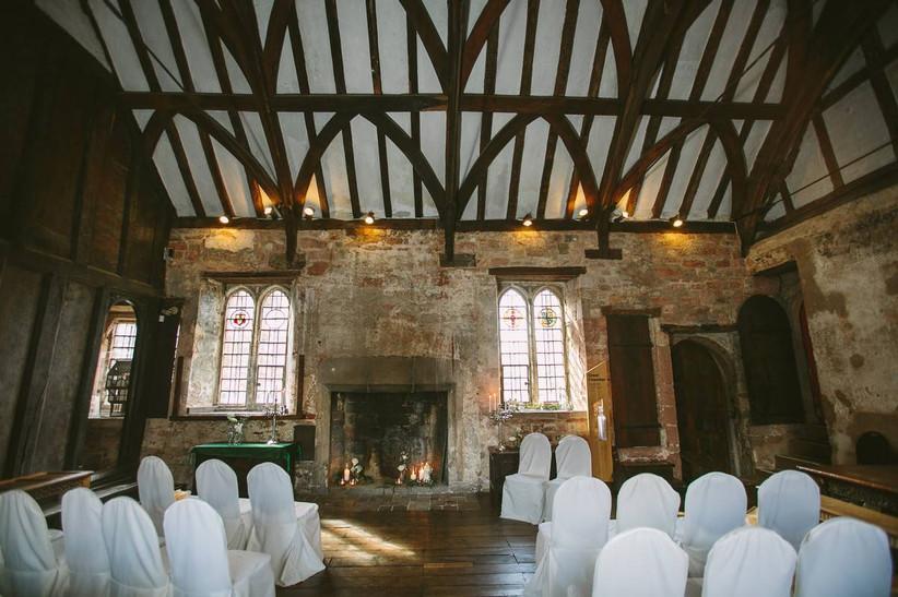 Wooden beamed wedding ceremony room