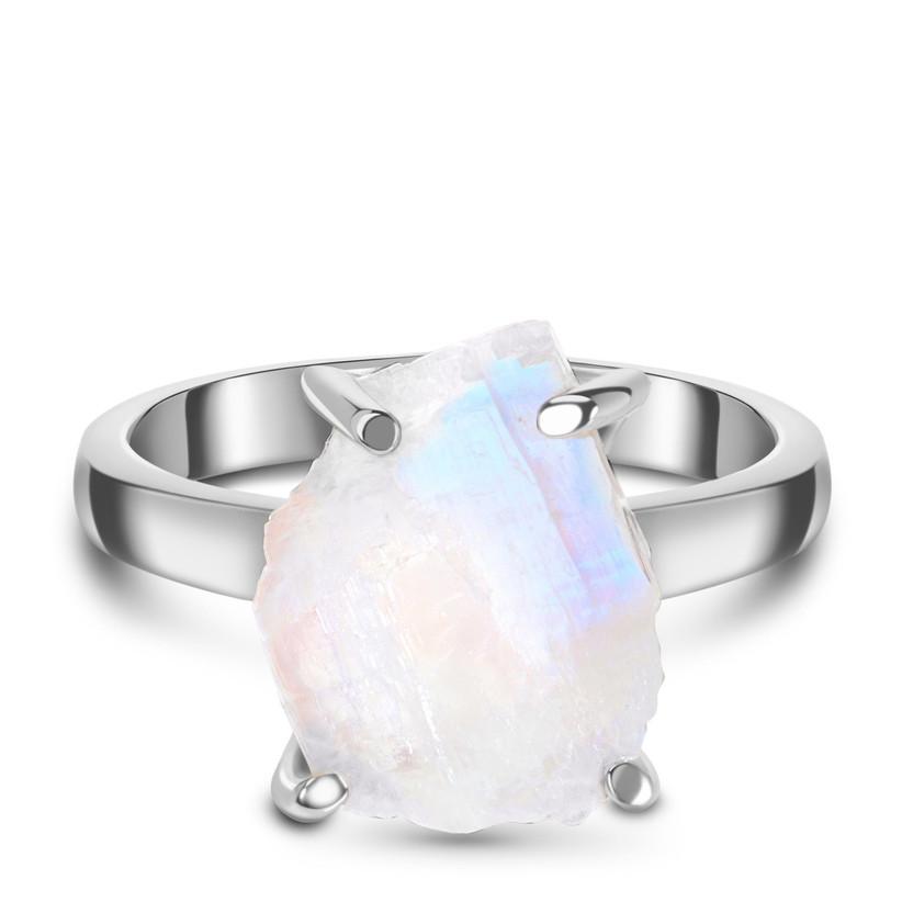 Raw moonstone crystal engagement ring