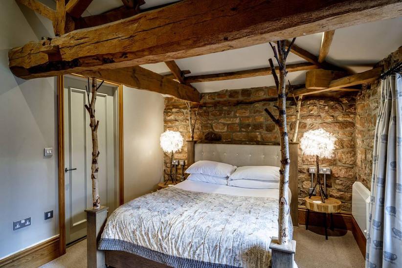 Hotel bedroom with wooden details