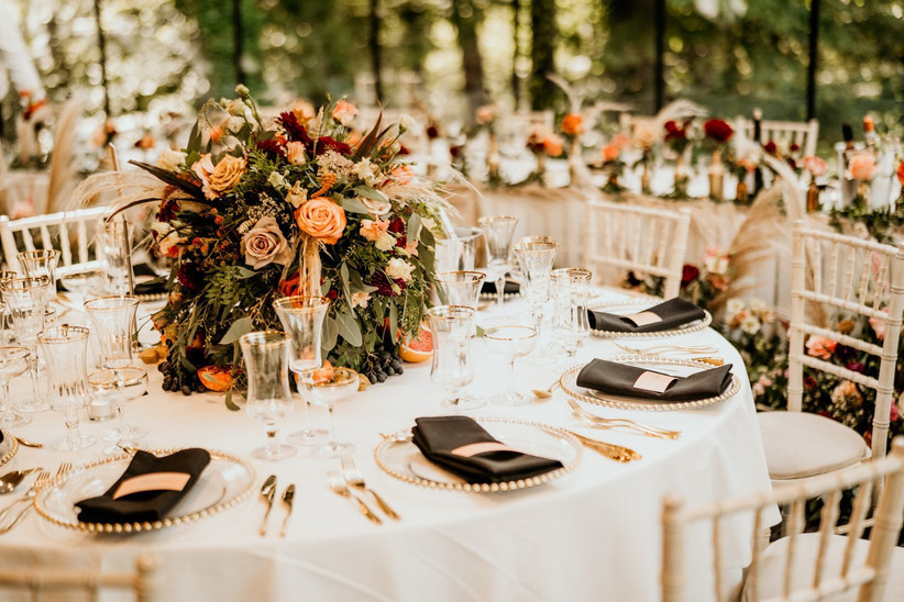 Wedding table full of wedding flowers
