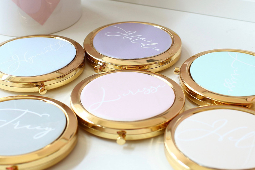 5. wedding thank you gifts Personalised compact mirrors Bridesmaid Thank you Wedding gift 6 colours to choose birthday Mother of the bride Friendship gift etsy