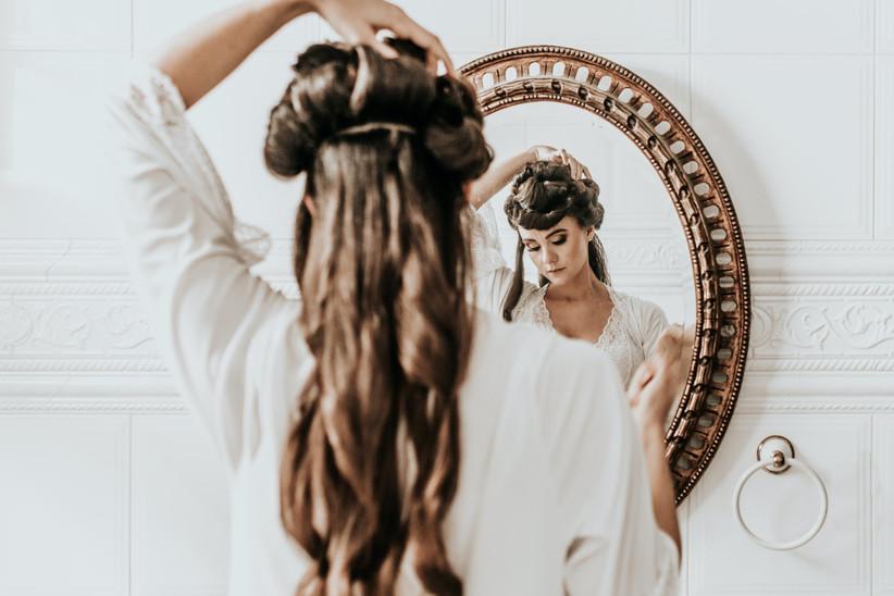 Updo hair prep