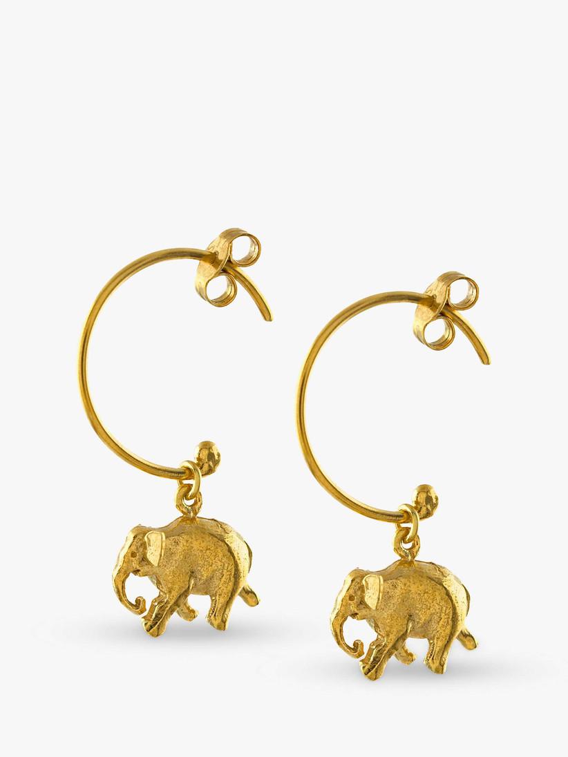 Gold hoop earrings with an elephant charm