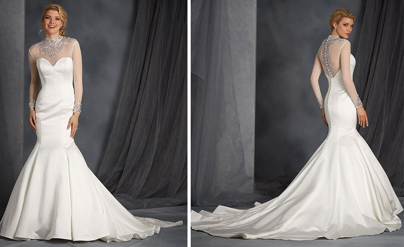 high-neck-sheer-sleeve-wedding-dress