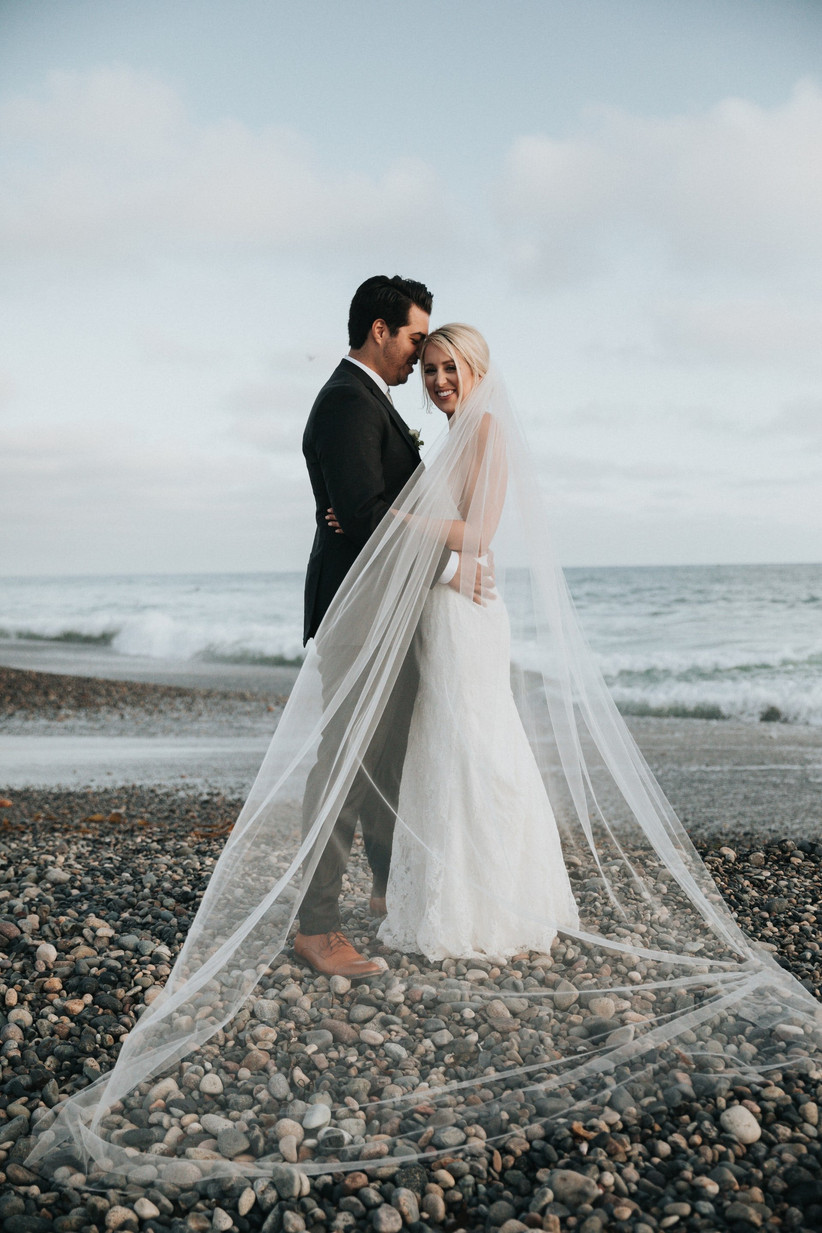 bride and groom on beautiful beach