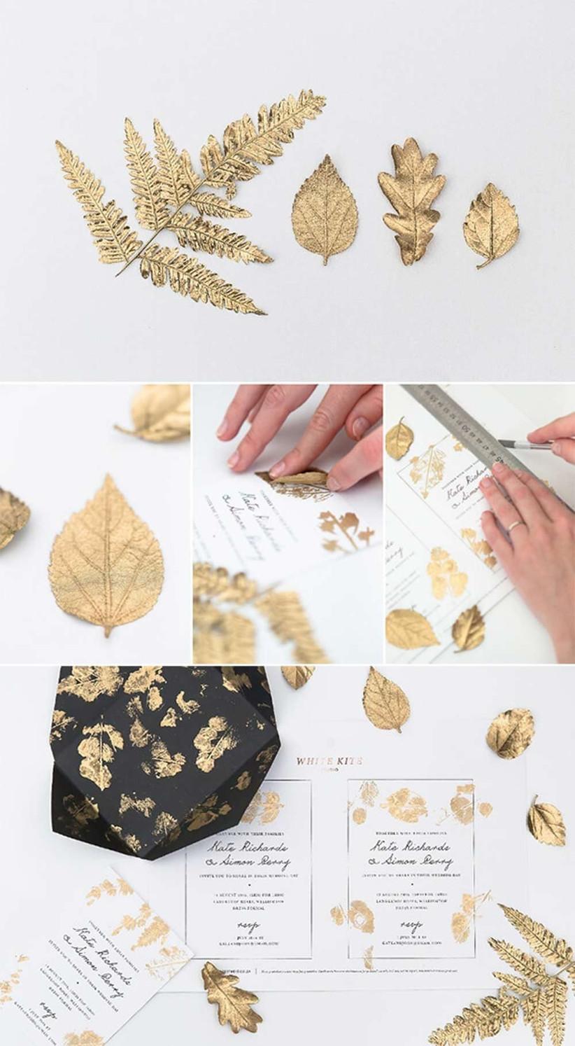 diy-gold-leaf-wedding-invitations