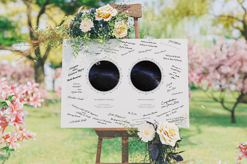 Star themed wedding guest book
