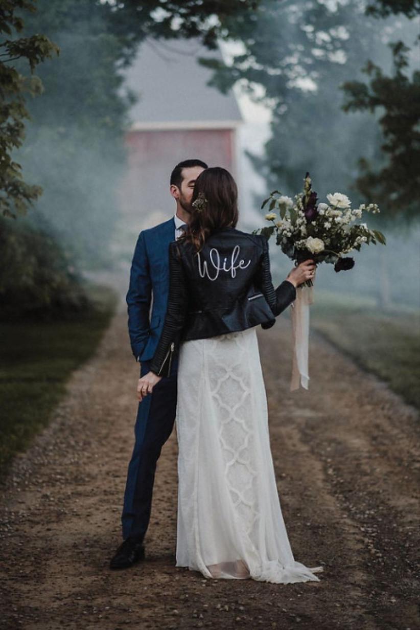 winter wedding leather jacket