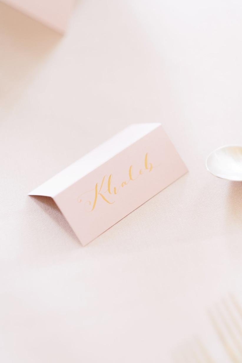 Pink wedding folded place name