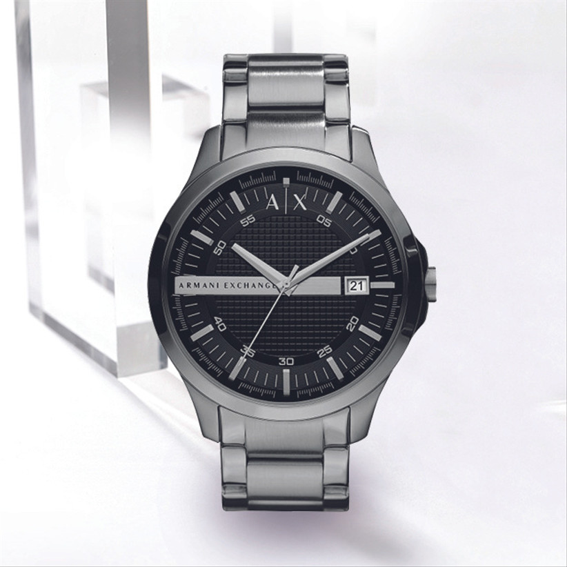 Grey chunky watch with black face