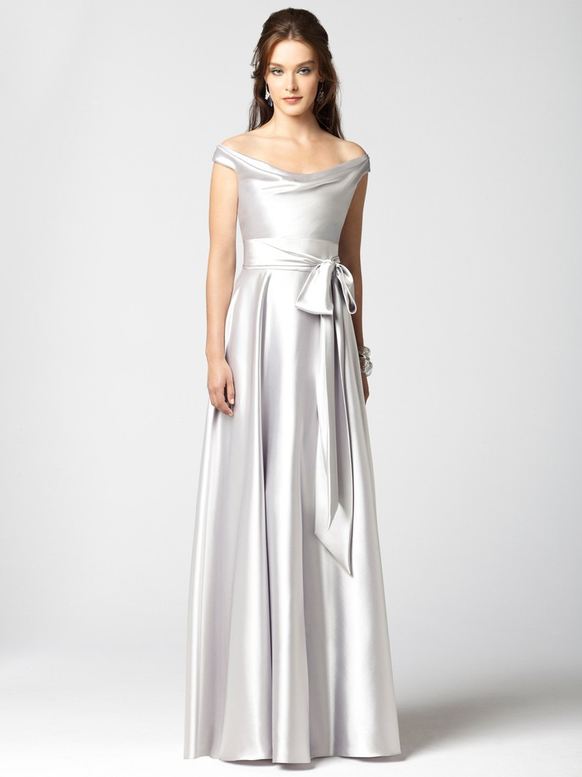 this-winter-bridesmaid-dress-from-dessy-has-a-glossy-finish-and-stunning-waistband-tie