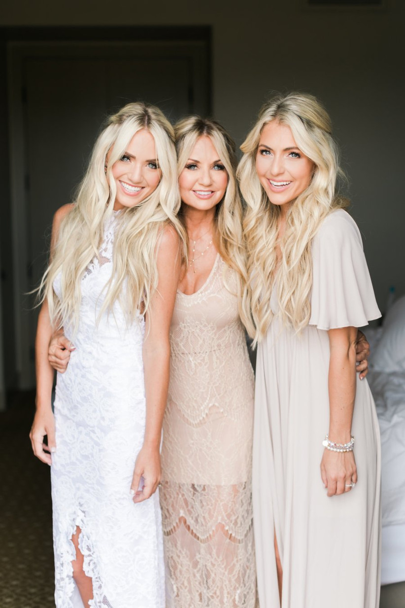Bridesmaids with half up half down hairstyles