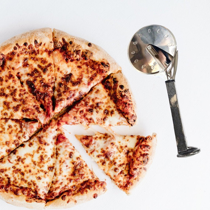 pizza with iron cutter