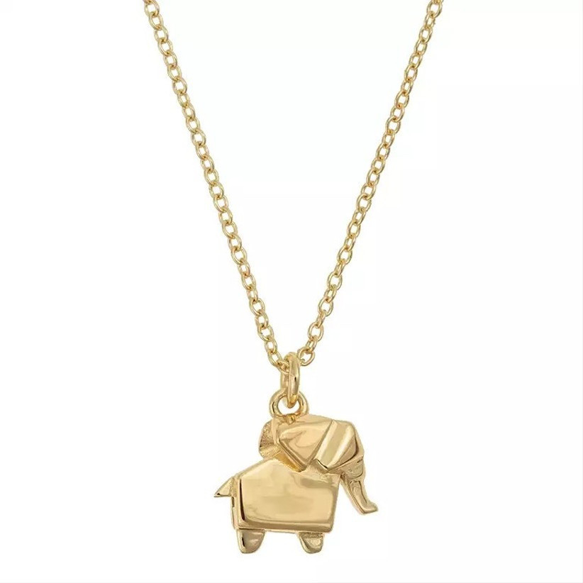 Gold necklace with an elephant charm
